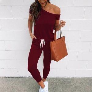 Pants - Wine Red Off Shoulder Jumpsuit Ankle Length